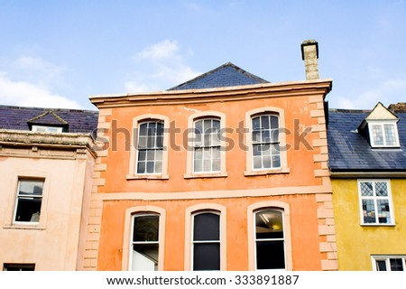 Adjoining buildings in a UK town - stock photo