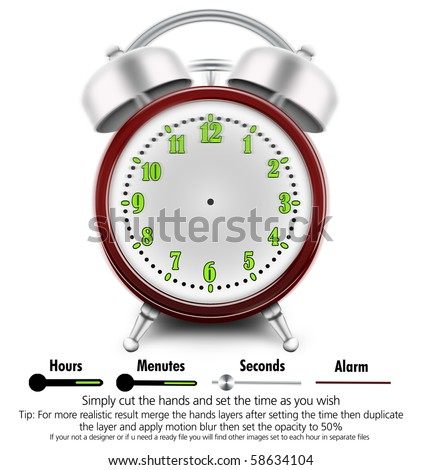 Adjustable alarm clock Simply cut the hands and set the time as you wish If your not a designer or if u need a ready file you will find other images set to each hour in separate files - stock photo