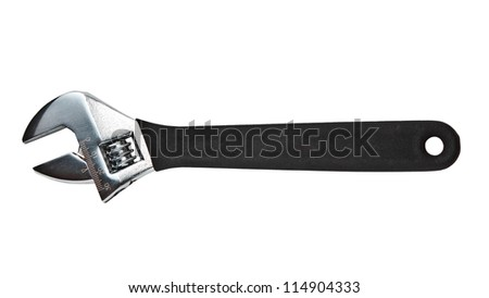 Adjustable spanner isolated on white background - stock photo