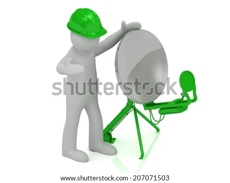 adjuster 3d man in an green helmet adjusts the green satellite dish on a white background - stock photo