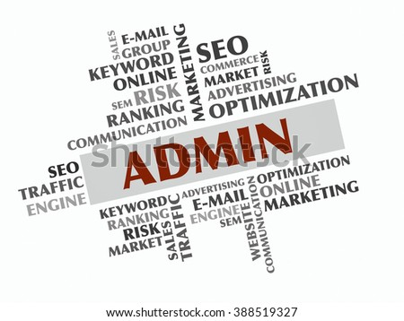 Admin word cloud, Business concept - stock photo
