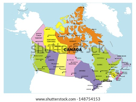 Administrative map of Canada - stock photo
