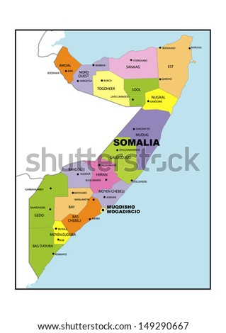 Administrative map of Somalia - stock photo