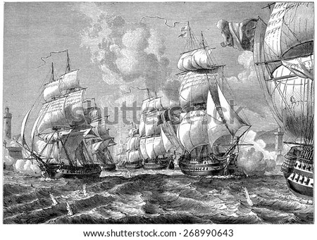 Admiral stallion with his squadron strength of the entrance floor, vintage engraved illustration. History of France 1885. - stock photo