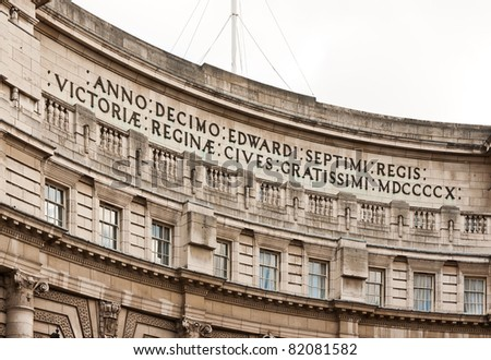 Admiralty Arch, London - a large office building in London which incorporates an archway providing road and pedestrian access between The Mall and Trafalgar Square - stock photo