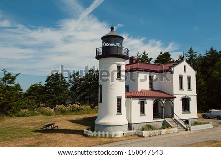 Admiralty Head Lighthouse at Fort Casey State Park, Whidbey Island, Washington, USA - stock photo