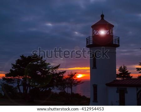 Admiralty Lighthouse at Sunset on the Washington Coast USA - stock photo
