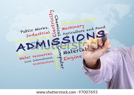 Admissions Engineering of Faculty in University and other related words written on white board - stock photo