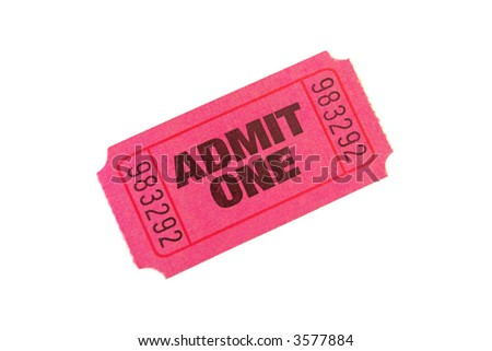 Admit One Ticket isolated on pure white bacground - stock photo