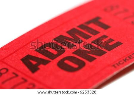 Admit One ticket with shallow DOF - stock photo