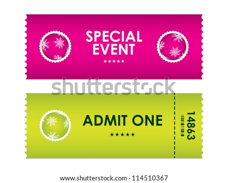 admit one tickets with special christmas design - stock photo