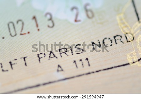 Admitted stamp of Paris Visa for immigration travel concept - stock photo
