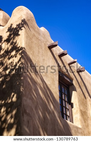 Adobe building in downtown Santa Fe, New Mexico, USA - stock photo
