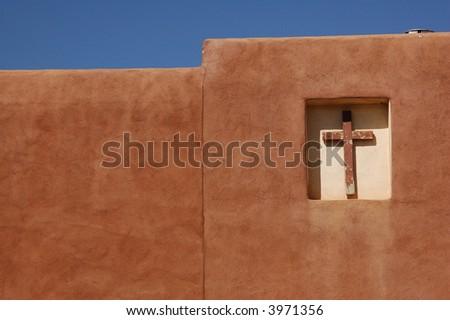 Adobe church near Taos, New Mexico - stock photo