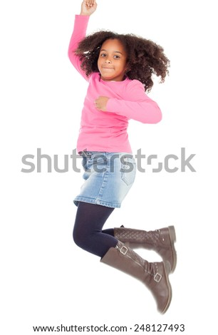 Adorable african little girl jumping isolated on white background - stock photo