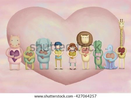 Adorable animals and kids holding hearts. Lovely illustration in hand drawn style - stock photo