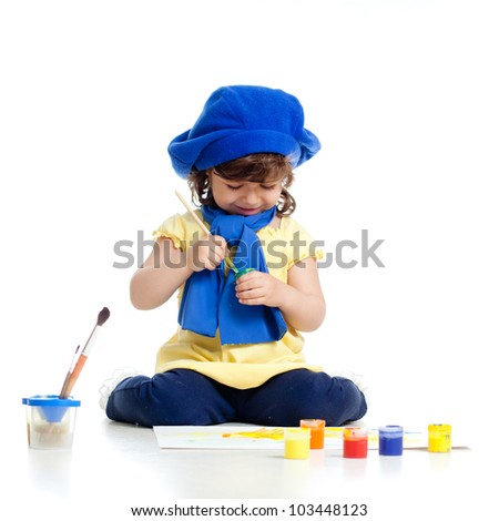 adorable artist kid drawing and painting - stock photo