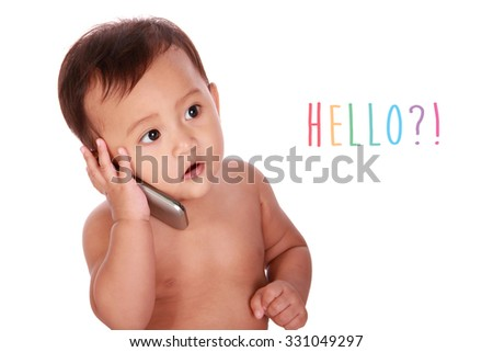 Adorable Asian baby makes a phone call and says hello, isolated on white background - stock photo