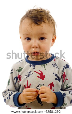 Adorable Baby Boy, He has Finally Stopped Crying - Isolated over a white background - stock photo