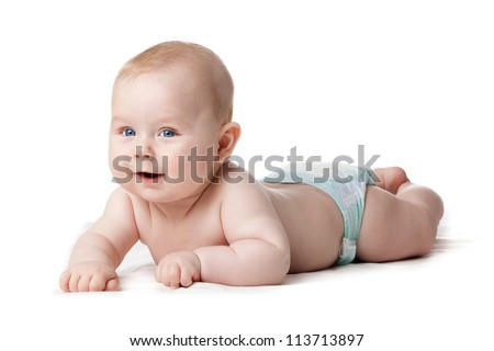 Adorable baby boy isolated - stock photo