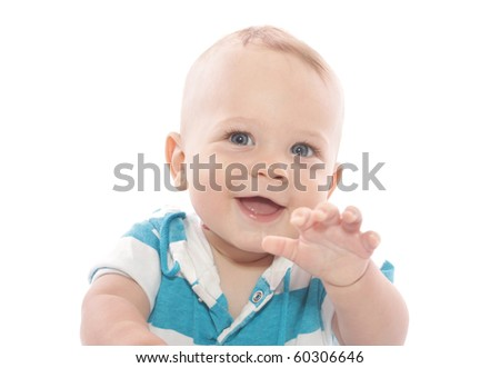 Adorable Baby Boy laughing, on white background - stock photo