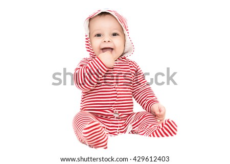 Adorable baby boy with big eyes - stock photo