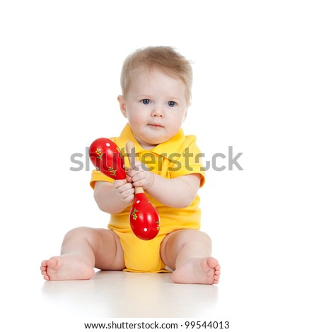 Adorable baby  boy with musical toys. Isolated on white background - stock photo