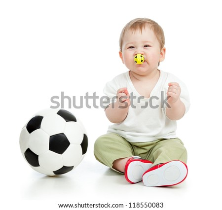 adorable baby football player with ball and whistle over white background - stock photo