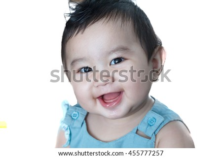 Adorable baby girl isolated white background.newborn child relaxing and smile close up of face baby .2-6 mounths two-six mounths baby healthy concept. - stock photo