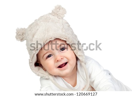 Adorable baby girl with a funny bear hat isolated on white background - stock photo