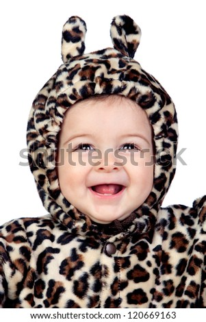 Adorable baby girl with leopard costume isolated on white background - stock photo