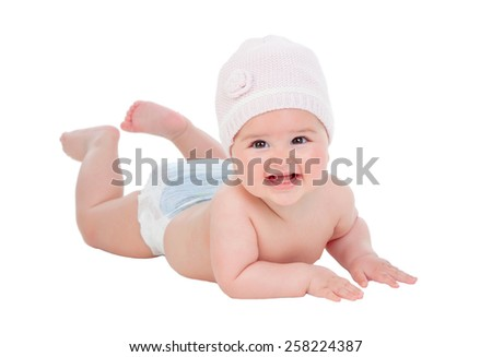 Adorable baby girl with wool hat isolated on a white background - stock photo