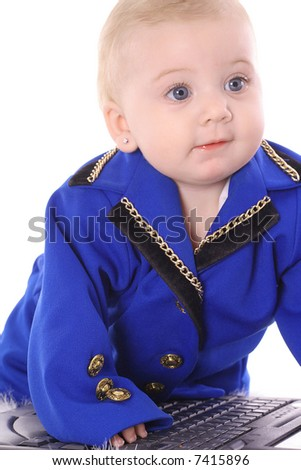 adorable baby in business suit - stock photo