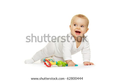 Adorable baby isolated on white background - stock photo