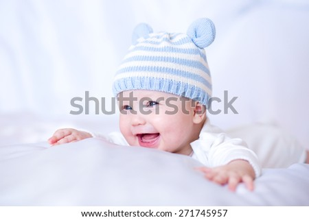 Adorable baby 6 months, close-up portrait - stock photo