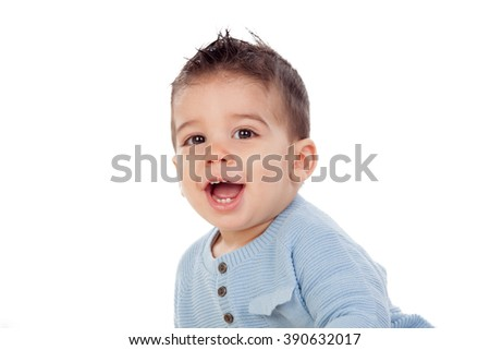 Adorable baby nine months isolated on a white background - stock photo
