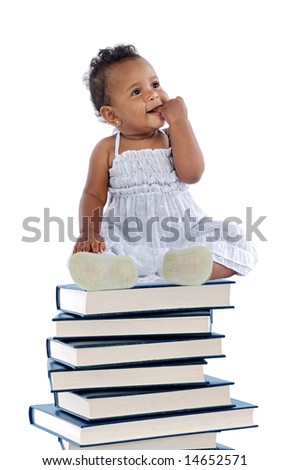 adorable baby on a book tower a over white background - stock photo
