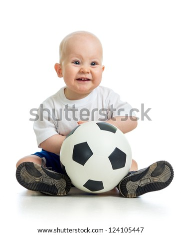 adorable baby with ball over white background - stock photo