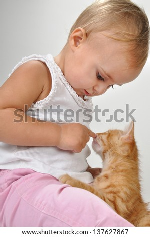 adorable beautiful cute toddler child plays with a cat - stock photo