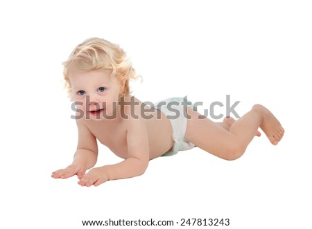 Adorable blond baby with two years in diaper isolated on white background - stock photo