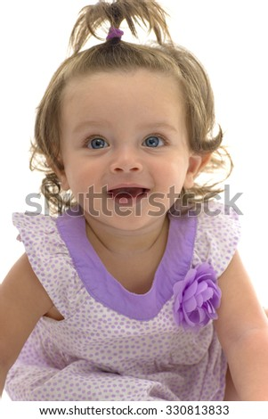 Adorable Blue Eyes of Young Caucasian Girl Isolated on White Background - stock photo