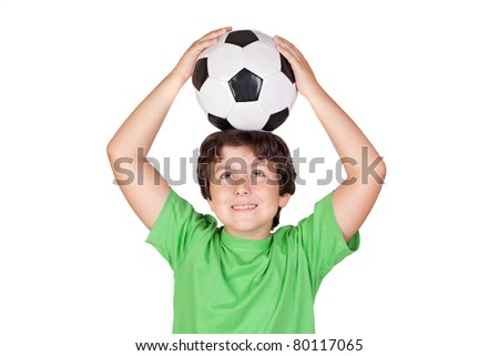 Adorable boy dreaming about being soccer player - stock photo