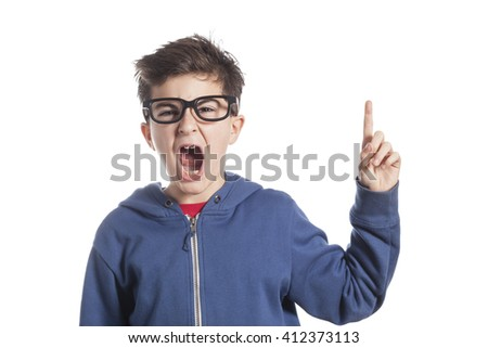 Adorable boy pointing up  - stock photo