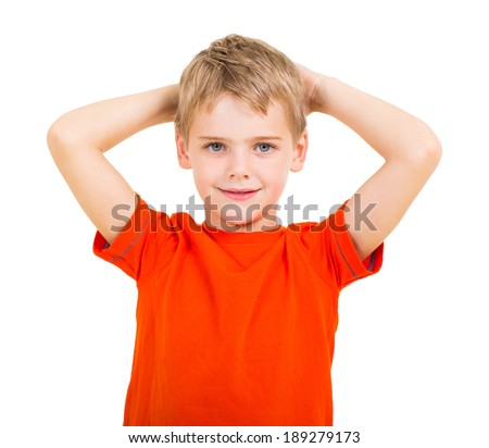 adorable boy with his hands behind his head on white background - stock photo