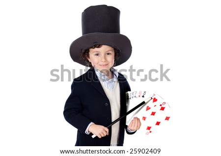 Adorable child dress of illusionist with hat on a over white background - stock photo
