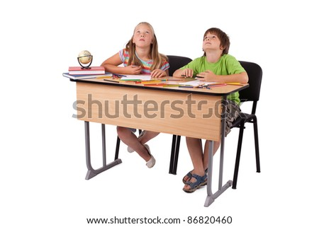 Adorable child playing over isolated background - stock photo