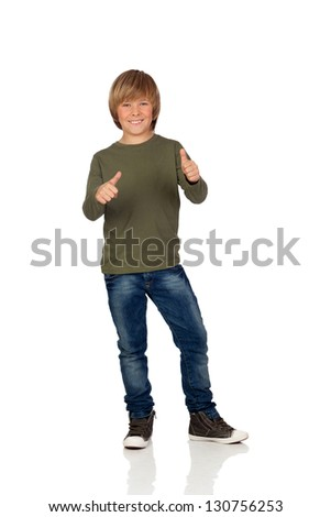 Adorable child saying OK on a over white background - stock photo