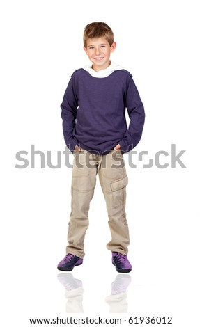 Adorable child with blond hair isolated on white background - stock photo