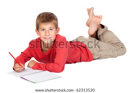 Adorable child with blond hair lying isolated on white background - stock photo