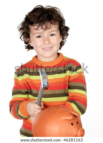 Adorable child with hammer and money box isolated on a over white background - stock photo